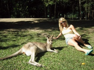 Relaxing with kangaroos in Australia